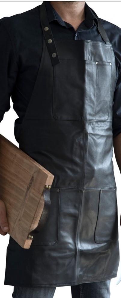 Forklæde - Kraftigt læder - Sort