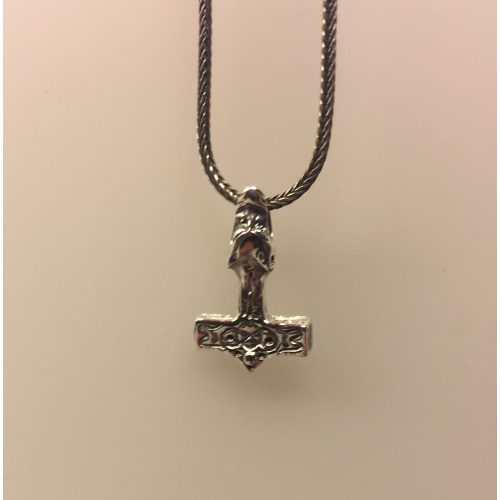Vikingevedhæng i sølv - Lille thorshammer med fenrisulv