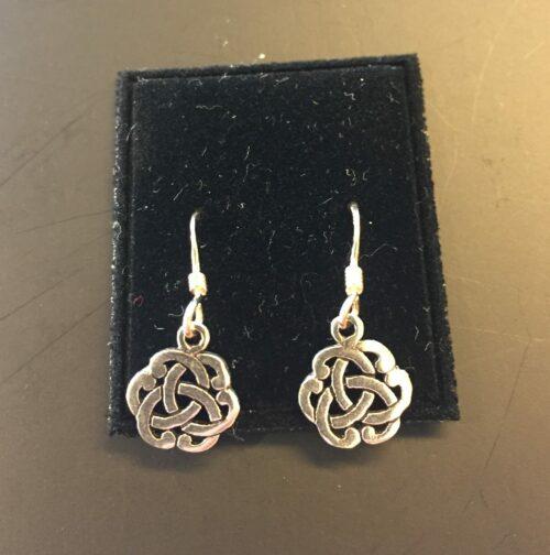Vikingeørehængere i sølv - Keltisk flet lille