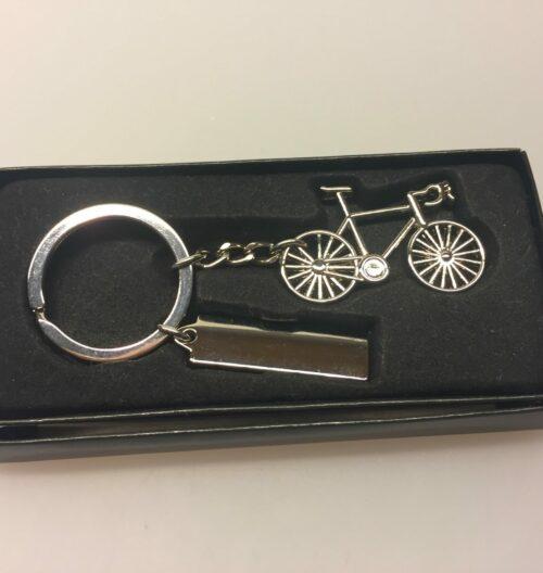 Nøglering - Cykel blank med skilt
