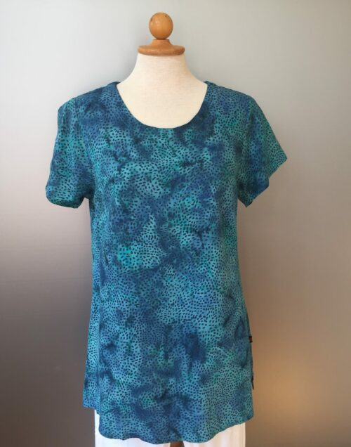 Batikbluse - lang med kort ærme - Kora jeansblå