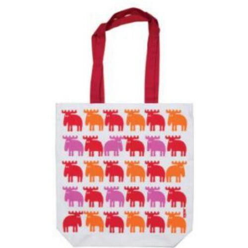 Shopper i stof - rød/pink/orange Elge