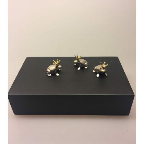 Magneter - 3 Frøer med krone - Frøprins mat sølv