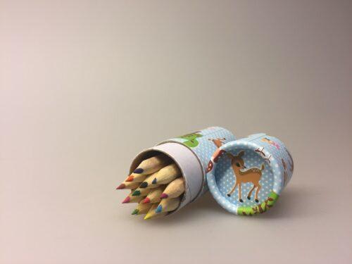 Farveblyanter til børn i cyllinderbox - Bambi og pindsvin