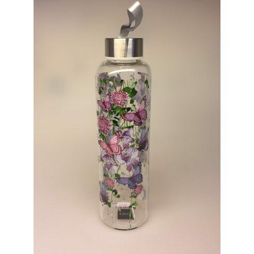 Drikkeflaske - glas - blomster og sommerfugle lilla