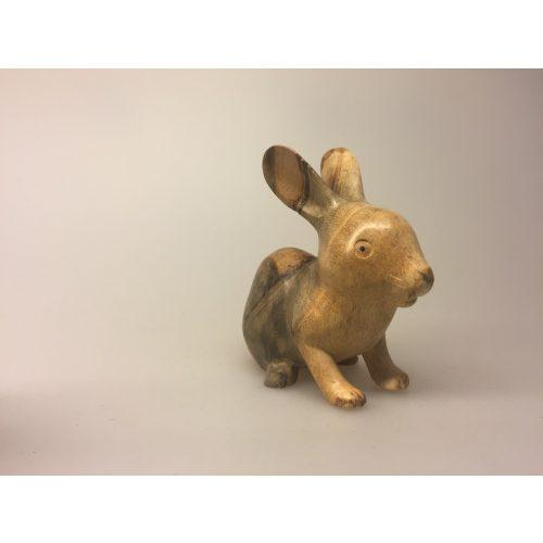 Kanin - Håndskåret af træ - Grå stribet