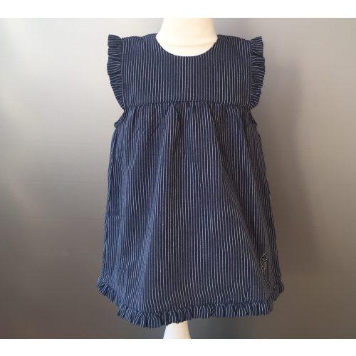 Børnekjole i bomuld - Mørkeblå Pinstribe (stof 591