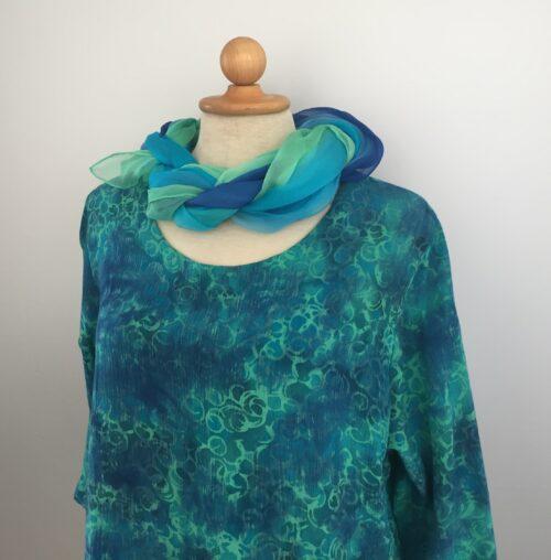 Batik bluse - Top Puri crincle - cirkel Turkis