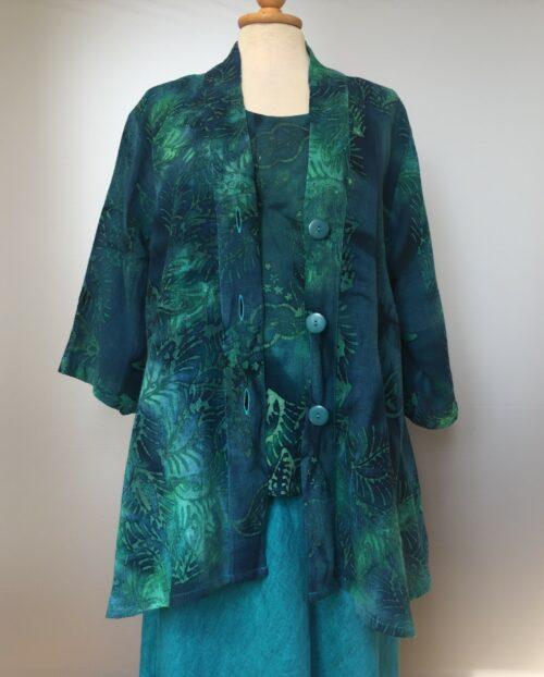 UNO jakke - A-facon i hør/viskose - Blade Blå/grøn