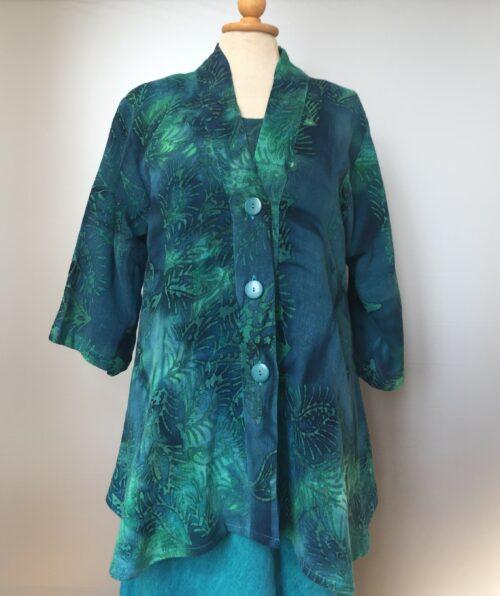 UNO jakke - A-facon i hør/viskose - Blade Blå/grøn - naturmaterialer, vævet, store størrelser, storpigetøj, unika, specielt