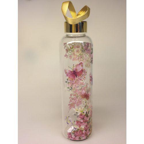Drikkeflaske - glas - blomster og sommerfugle rosa - drikkedunk - vandflaske - vanddunk - sport -