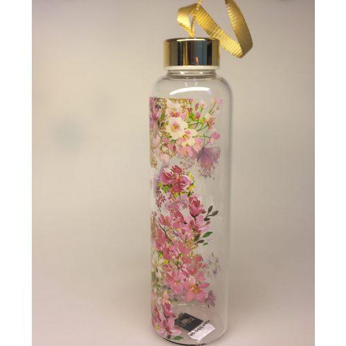 Drikkeflaske - glas - blomster og sommerfugle rosa