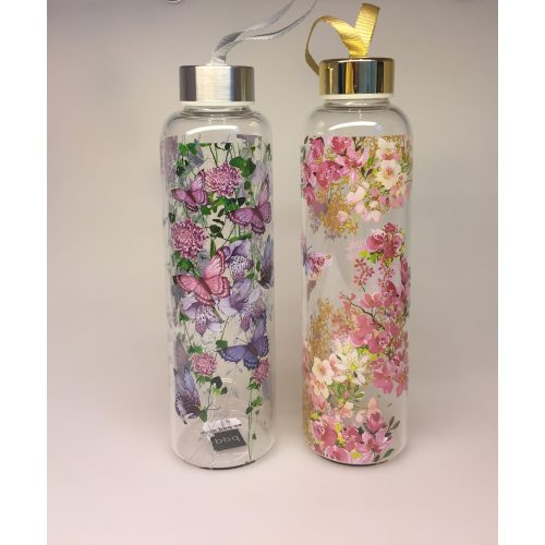 Drikkeflaske - glas - blomster og sommerfugle lilla - Drikkeflaske - glas - blomster og sommerfugle rosa