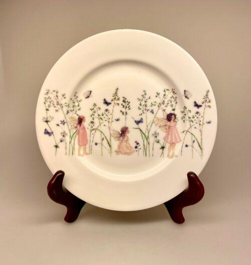 Ben Porcelæn Tallerken - Rosa Alfer og sommerfugle, Tallerken - Ben Porcelæn - Alfer og sommerfugle, alfetallerken, porcelæn, dåbsgave, barnedåb, børneservice, børnetallerken