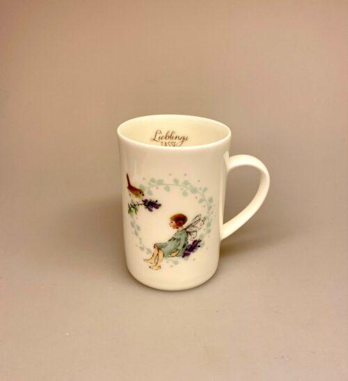 Krus - Ben Ben Porcelæn krus - Min Yndlings kop - Alf og Rødhals - fugl . rødkælk, fe, blomsterfe, alfekop, alfekrus, krus, kop, porcelænskop, porcelænskrus, dåbsgave, børnestel, barnedåb,