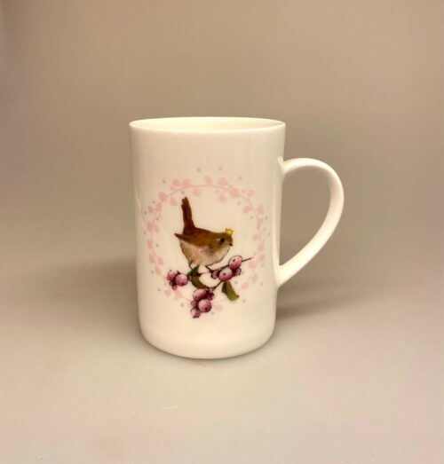Krus - Ben Porcelæn - Min Yndlings kop - Gærdesmutte og Snebær, fugl, fuglekrus, fuglekop, krus, kop, kaffekrus, kaffekop, fugleliv,
