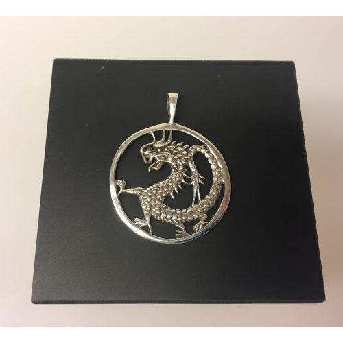 Vikingevedhæng i sølv - Drage i cirkel -solhjul, mythologi, mytologi, væsen, fabeldyr, portvogter, loke, sif, thor, odin, udgård, asgård, evighed, asatro