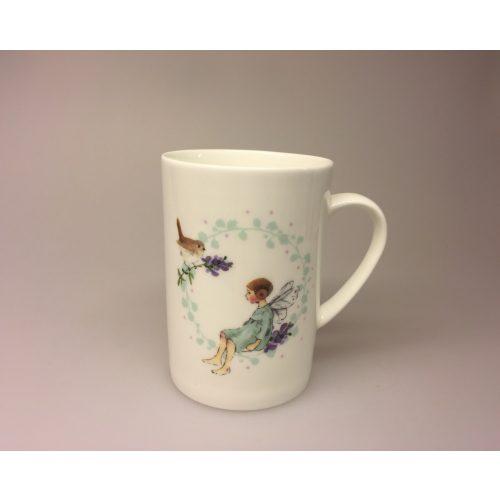 Krus - Ben Porcelæn - Min Yndlings kop - Alf og Rødhals - fugl . rødkælk, fe, blomsterfe, alfekop, alfekrus, krus, kop, porcelænskop, porcelænskrus, dåbsgave, børnestel, barnedåb,
