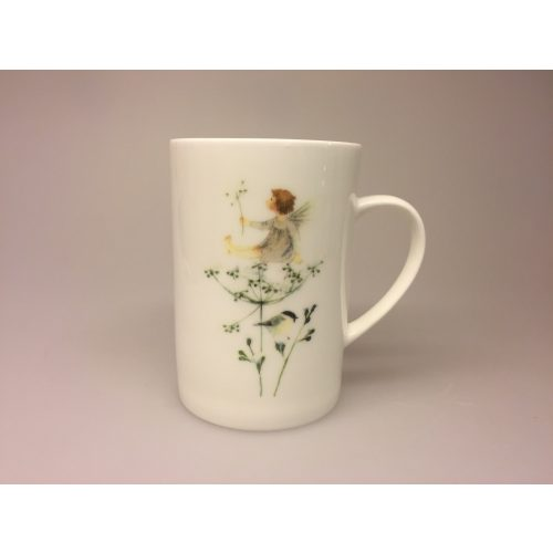 Krus - Ben Porcelæn - Min Yndlings kop - Alf på Skærmblomst og sumpmejse - fugl - sumpmejse - sortmejse - fe - blomsterfe - skærmblomst - krus -kop -porcelænskop - porcelænskrus - alfekrus