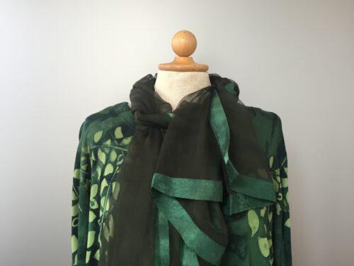 Batikbluse Swang A-facon - Blade Grøn, jersey, t-shirt, lnagærmet, øko, økologisk, blød, natur materialer, bæredygtig, miljø venligt, store størrelser, a-form, a-fason, a-facon, storpige, lang, kvalitet, mørkegrøn, flaskegrøn,