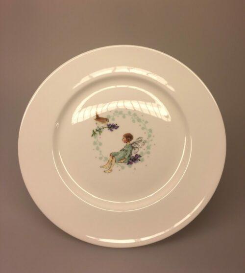 Ben Porcelæn Tallerken - Alf og Rødhals, Tallerken - Ben Porcelæn - Alf og Rødhals - Krus - Ben Porcelæn - Min Yndlings kop - Alf og Rødhals - fugl . rødkælk, fe, blomsterfe, alfekop, alfekrus, krus, kop, porcelænskop, porcelænskrus, dåbsgave, børnestel, barnedåb,
