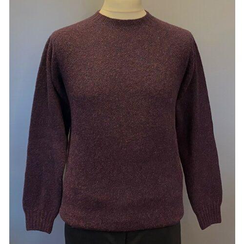 Harley of Scotland - Unisex Uld Pullover - Blueberry Lilla, blålilla, mørkelilla, mørklilla, uld, fåreuld, lambswool, kvalitet, herrestrik, herretrøje, herresweater, til mænd, sweater, tynd, lun, let, unisex, lang, trøje, strikbluse, moderne, hipster, design, skotsk, skotland, biti, ribe,