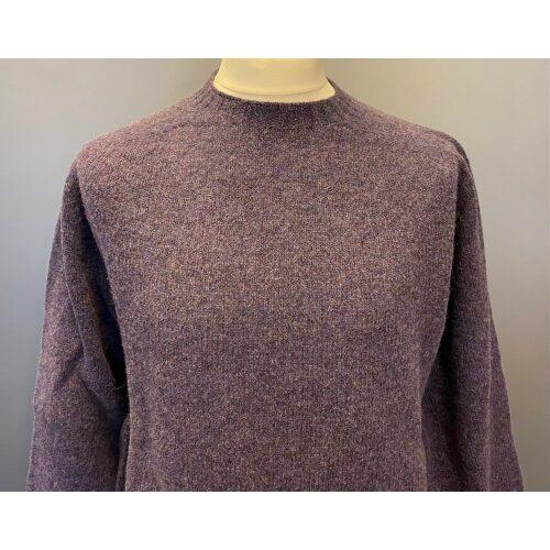 Harley of Scotland - Unisex Uld Pullover - Blålilla, lilla, lillablå, herrestrik, herre, trøje, uldtrøje, uldpullover, uldsweater, strik, striktrøje, herrestrik, damestrik, lang, kvalitet, lambswool, sommerstrik, sommertrøje, skotsk, skotland, biti, ribe, vadehavet, marsken, får, naturuld, økologisk, bæredygtigt, design, klassisk, lækker, moderne