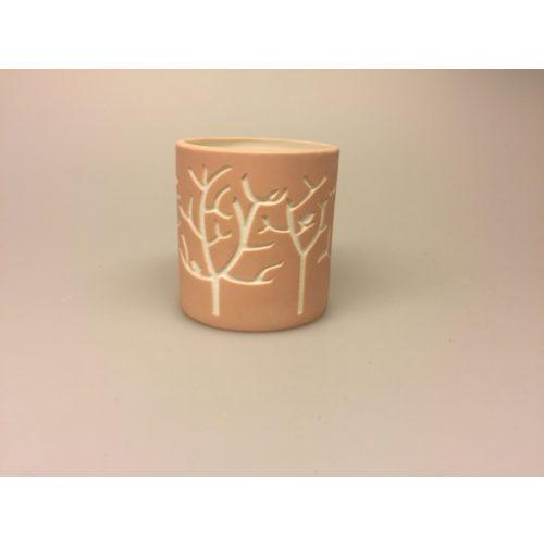 Fyrfadsstage - Vase med fugle sort, Fyrfadsstage - Vase med fugle rosa, fyrfadsstage, lanterne, stage, vase, potte, til lys, fugle, natur, grene, moderne, keramik, keramisk, speciel, enkel, nordisk, cool,Fyrfadsstage med fugle rosa