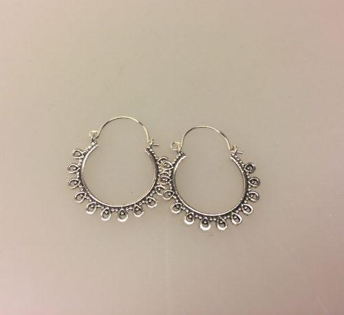 Ø 22 mm Creol øreringe sølv - bøjle med fint mønster, bøjlecreol, creoler, øreringe, ørenringe, hoops, boho, hippie, style, sterling sølv, sølv, ringe, loops, store, mellemstore, maanesten, flotte, billige, kvalitet,