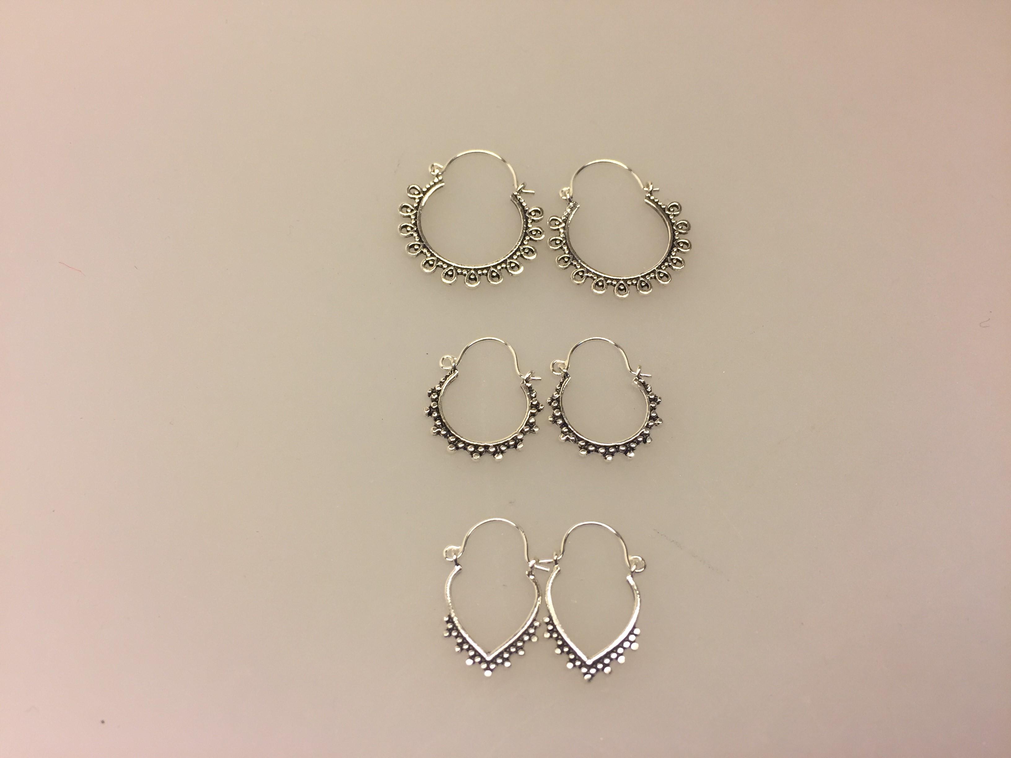 Ø 17 mm Creol øreringe sølv - bøjle med fint mønster, hoops, loops, runde, øreringe, ringe, ørenringe, bali, boho, hippie, stylish, cool, ægte, sølv, sterling sølv, billige, lave priser, kvalitet, små, specielle, mønster, maanesten