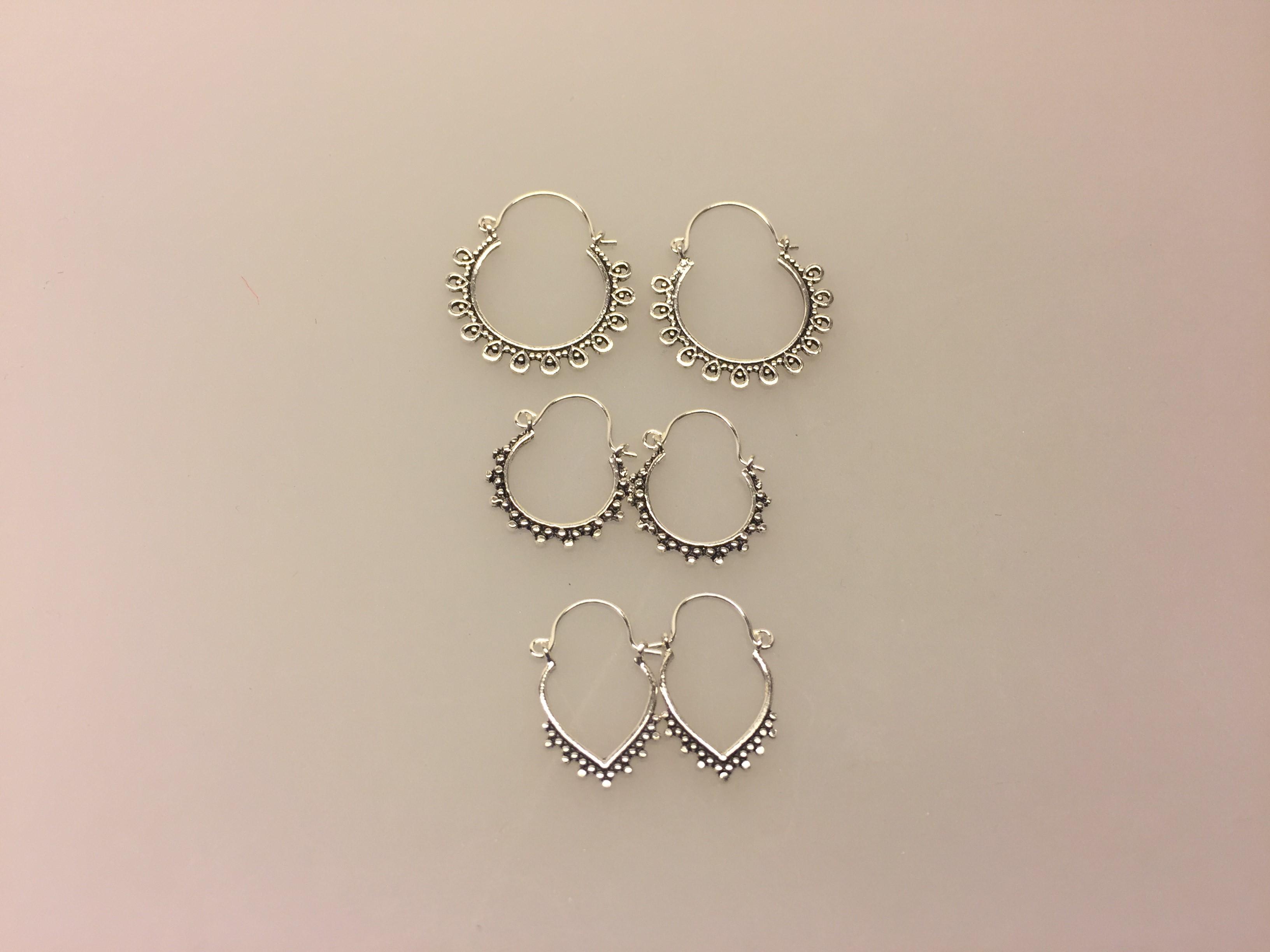 Ø 12 mm Creol øreringe sølv - hjertebøjle med fint mønster, Creol øreringe sølv - bøjle med fint mønster, hoops, loops, runde, øreringe, ringe, ørenringe, bali, boho, hippie, stylish, cool, ægte, sølv, sterling sølv, billige, lave priser, kvalitet, små, specielle, mønster, maanesten