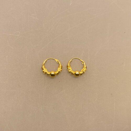 Creoler - Ø 10 mm øreringe forgyldt sølv med kugle og S-mønster, hoops, creoler, ægte, guld, guldøreringe, ørenringe, øreringe, gyldne, sterling sølv, guldbelagte, forfyldte, billige, holdbare, mønster, stine a, maanesten, pico,