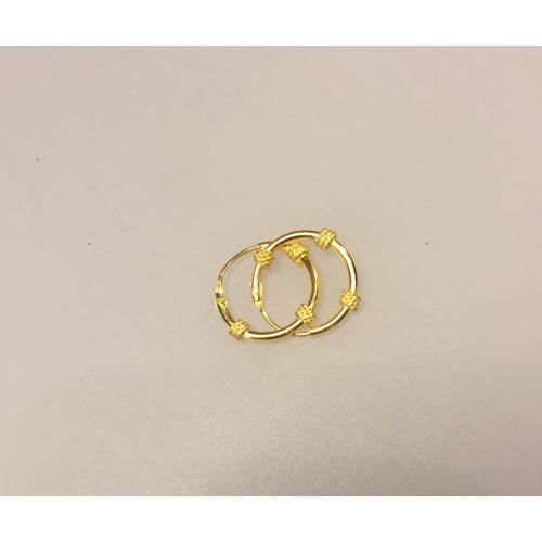 Creoler - Ø12 mm øreringe forgyldt sølv med 3 snoninger, forgyldt, guldbelagt, guld, øreringe, ørenringe, creoler, hoops, guld hoops, ægte, billige, kvalitet, flotte, moderne, mønster, specielle, boho,