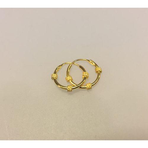 Creoler - Ø 12 mm øreringe forgyldt sølv med 3 snoninger, forgyldt, guldbelagt, guld, øreringe, ørenringe, creoler, hoops, guld hoops, ægte, billige, kvalitet, flotte, moderne, mønster, specielle, boho,