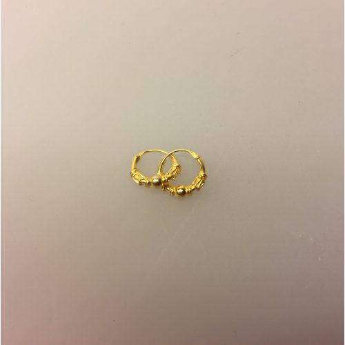 Creoler - Ø 10 mm øreringe forgyldt sølv med kugle og S-mønster ,Creoler - Ø 12 mm øreringe forgyldt sølv med kugle og S-mønster, hoops, guld, forgyldte, guldbelagte, ægte, kvalitet, billige, boho, mønster, bali, flotte, moderne, maanesten