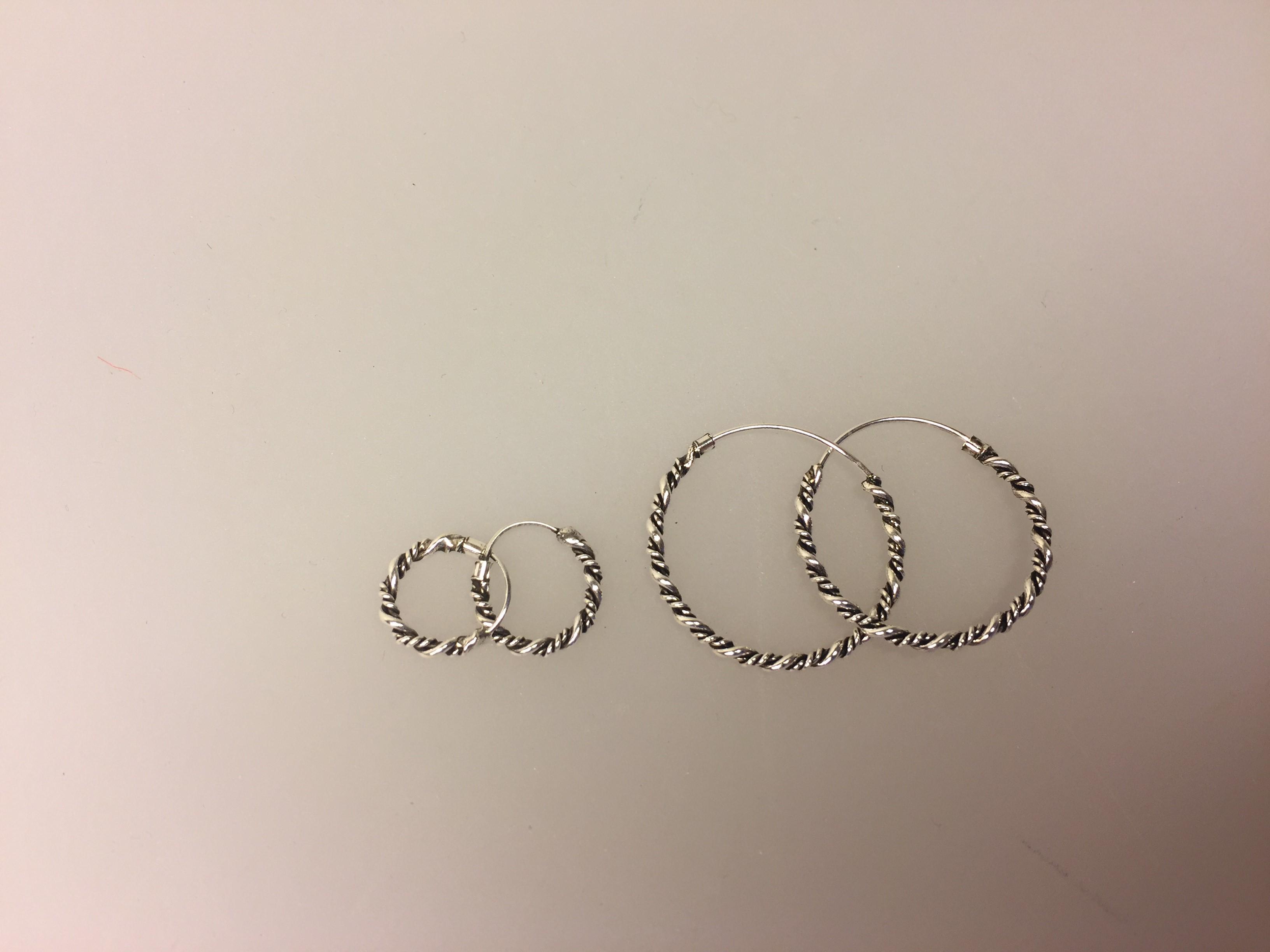 Ø 25 mm Creol øreringe sølv - snoet vridmodel, Ø 12 mm Creol øreringe sølv - snoet vridmodel, vridcreol, hoops, twistet, snoninger, sølv, ægte, runde, ringe, øreringe, ørenringe, creoler, creol, stor, flot, kvalitet, lave priser, smart,