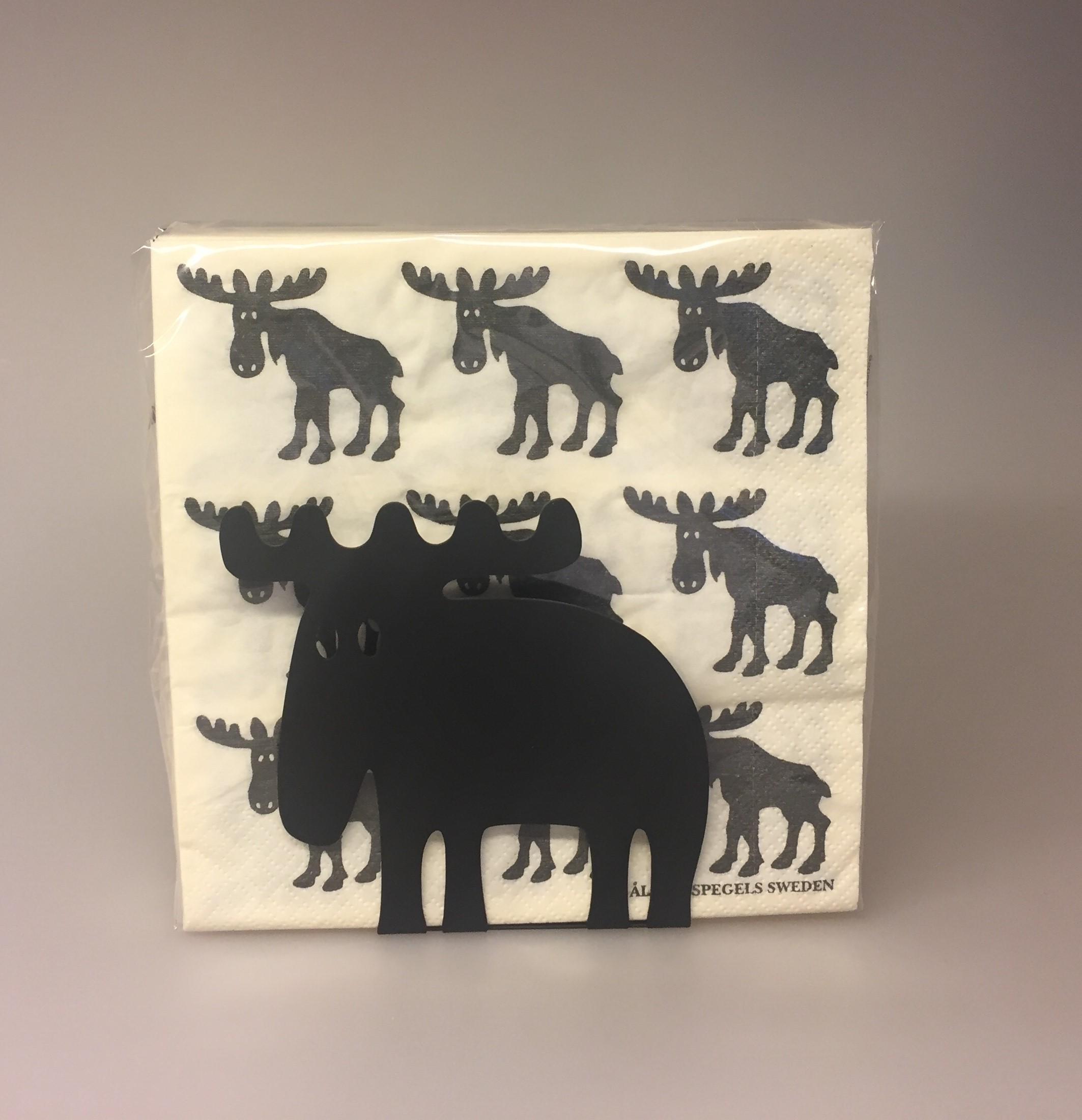 Servietholder metal - Elg sort, elgeservietholder, brevholder, brevordner, sort, metal, serviet holder, med elg, elgsdyr, moose, elk, elg, stilren, flot, kvalitet, nordisk, stil, svensk, Servietter hvide med sorte Elge, elge, elg, elgting, elgservietter, elgeservietter, elgsdyr, elsdyr, svensk, svenske,sverige, astrid lindgren, småland, skåne, kvalitet, specielt, nordisk, design, norden,