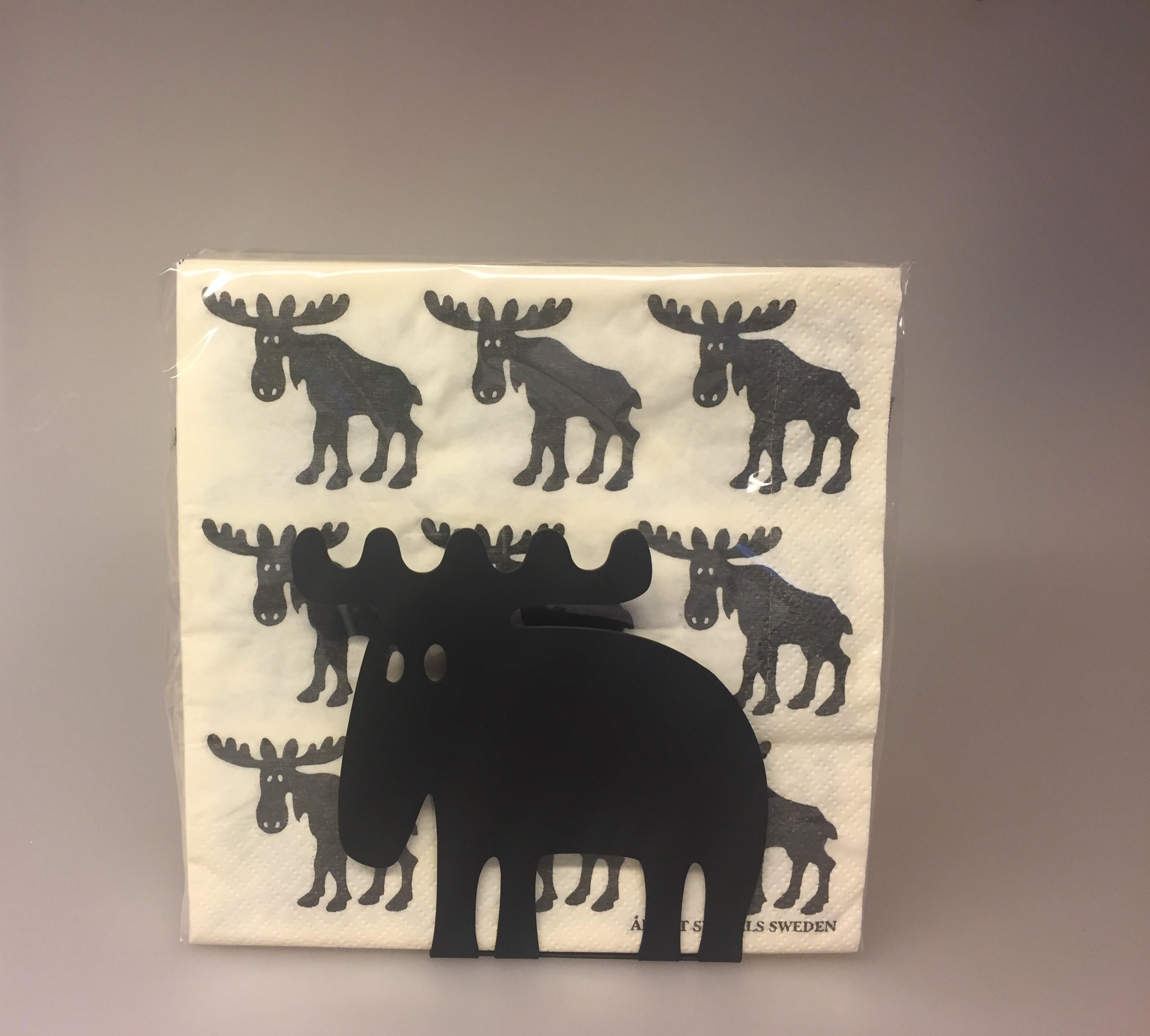 Servietholder metal - Elg sort, elgeservietholder, brevholder, brevordner, sort, metal, serviet holder, med elg, elgsdyr, moose, elk, elg, stilren, flot, kvalitet, nordisk, stil, svensk ,Servietter hvide med sorte Elge, elge, elg, elgting, elgservietter, elgeservietter, elgsdyr, elsdyr, svensk, svenske,sverige, astrid lindgren, småland, skåne, kvalitet, specielt, nordisk, design, norden,