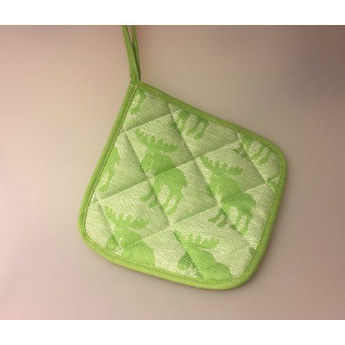 Grydelap (1) - vævet bomuld/hør - Elge æblegrøn, grøn, hør, natur, bomuld, svensk, sverige, elg, elge, elgsdyr, moose, elk, design, kvalitet, nordisk, stil, lækkert, køkken, tekstiler
