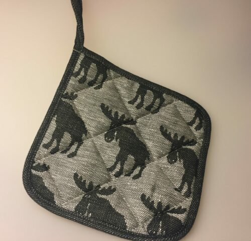 Grydelap (1) - vævet bomuld/hør - Elge sort/grå , elge, elg, elgsdyr, moose, elk, grydelap, grydelapper, elgegrydelap, ting med elge, elgting, elgeting, køkken, tekstiler, sverige, svensk, design, nordisk, hør, bomuld, natur, stilrent, stiligt, klassisk, sort