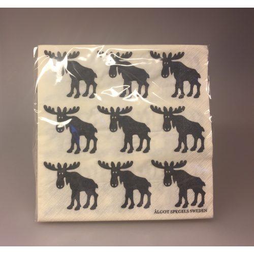Servietter hvide med sorte Elge, elge, elg, elgting, elgservietter, elgeservietter, elgsdyr, elsdyr, svensk, svenske,sverige, astrid lindgren, småland, skåne, kvalitet, specielt, nordisk, design, norden,