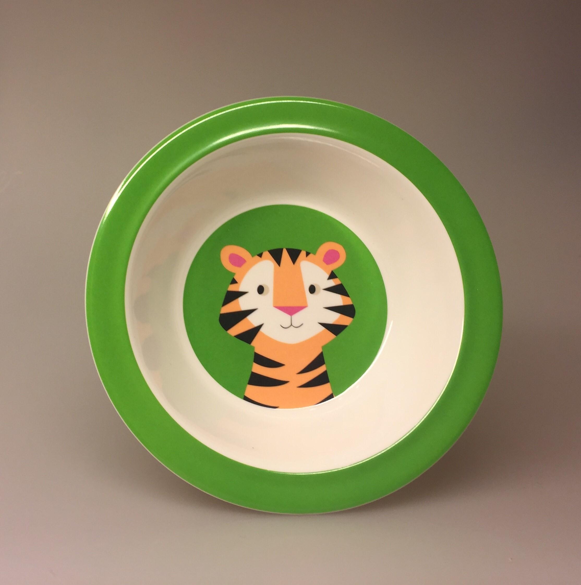 Dyb Tallerken melamin- Tiger,Tallerken - Dyb - Tiger, tigerskål, skål, morgenmad, morgenmadsskål, børneskål, børnetallerken, vilde dyr, safari, grøn, frisk, sød, sej, praktisk,