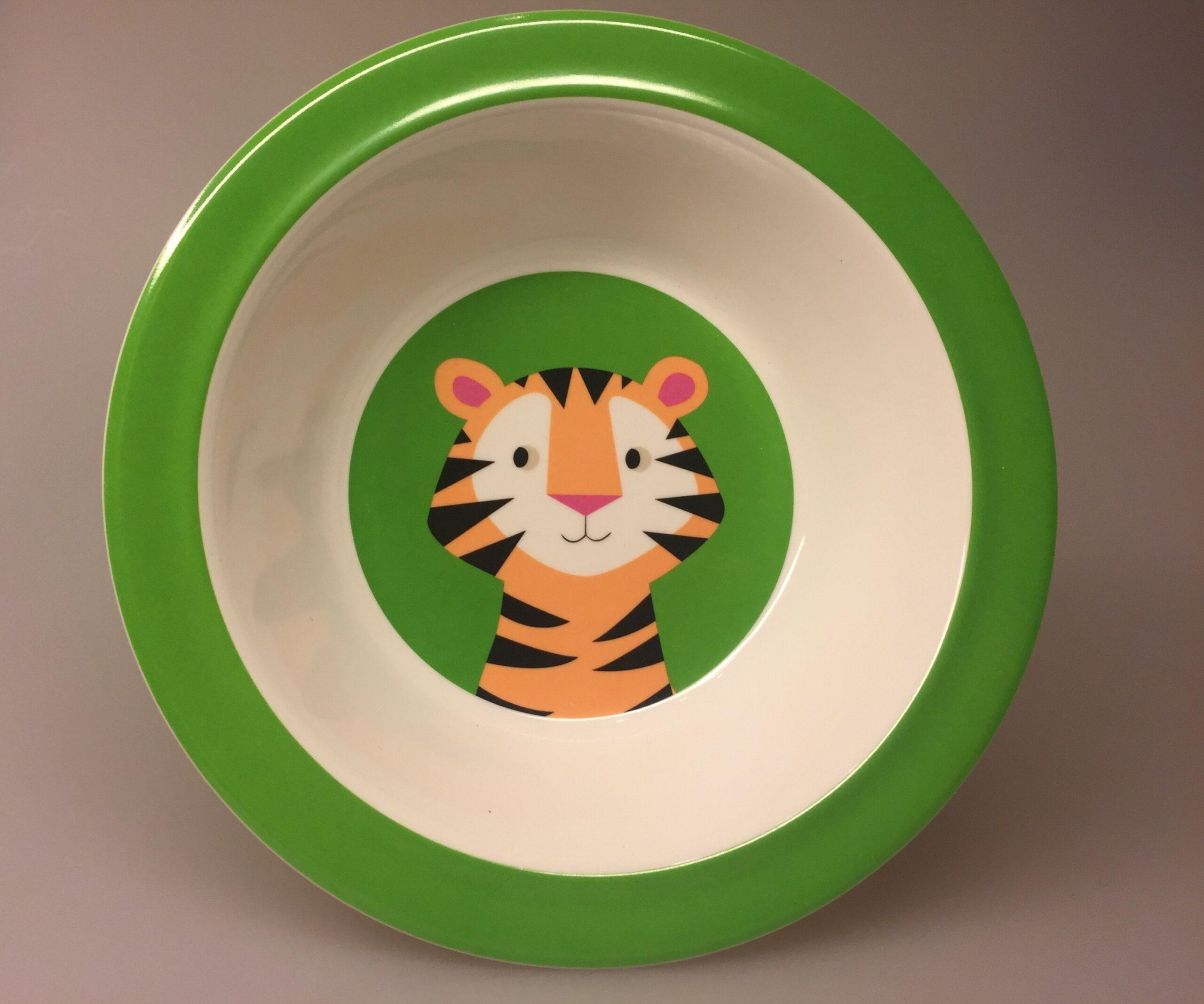 Tallerken - Dyb - Tiger, tigerskål, skål, morgenmad, morgenmadsskål, børneskål, børnetallerken, vilde dyr, safari, grøn, frisk, sød, sej, praktisk,