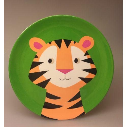 Flad Tallerken - melamin - Tiger, tigertallerken, tony the tiger, vilde dyr, børneservice, børnetallerken, flad tallerken, drenge, sødt, sjovt, safari, grønt, ting til børn, gaveide, baby shower,