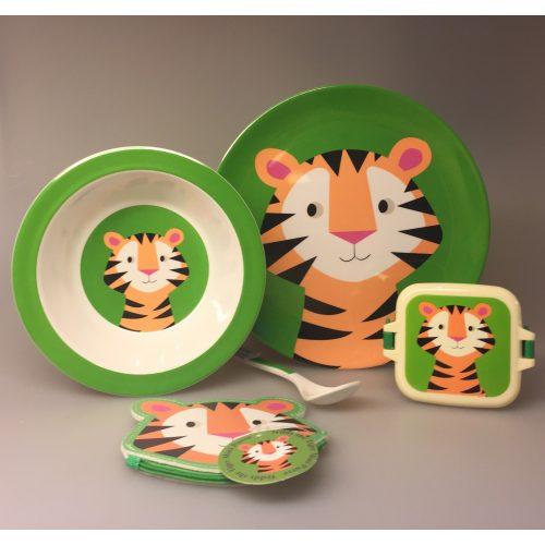 Snackboks med klemmer - Grøn Tiger, boks, snackbox, snackpot, dåse, æske, box, boks, tiger, børneting, skoletasken, mellemmåltid, guf, sej, sød, grøn, børnehave, vuggestue, skole, Flad Tallerken - melamin - Tiger, tigertallerken, tony the tiger, vilde dyr, børneservice, børnetallerken, flad tallerken, drenge, sødt, sjovt, safari, grønt, ting til børn, gaveide, baby shower,