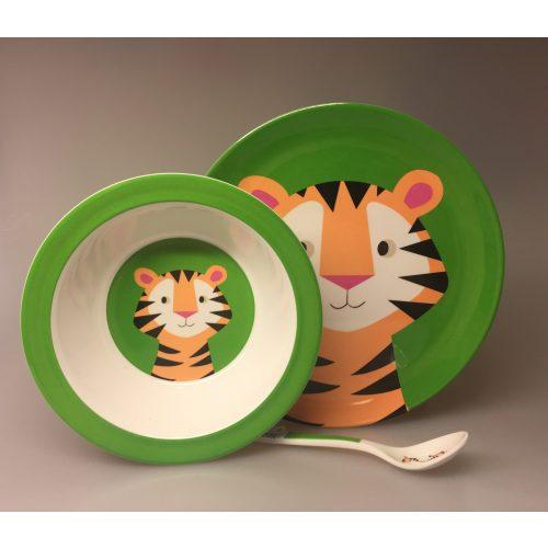Ske med Tiger, tigerske, tiger, børneske, barneske, service, babyske, ske til mos, børneting, drenge, Flad Tallerken - melamin - Tiger, tigertallerken, tony the tiger, vilde dyr, børneservice, børnetallerken, flad tallerken, drenge, sødt, sjovt, safari, grønt, ting til børn, gaveide, baby shower,