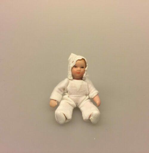 Baby hvid, Baby rosa, babydukke, dukkebaby, dukkehusdukke, dukkehusbaby, mini, miniatyre, miniature, lille, lyserød, rosa, pink, ting til dukkehuset, miniaturen, dollhouse, biti, ribe, vadehavet