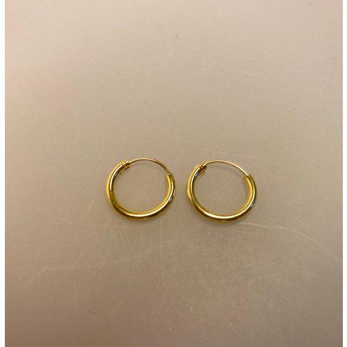 Creoler - Ø 14 mm øreringe forgyldt sølv - glatte Hoops, ægte, guld, guldøreringe, forgyldte, gudbelagte, tykke, små, runde, ringe, stine a, billige, maanesten, tilbud