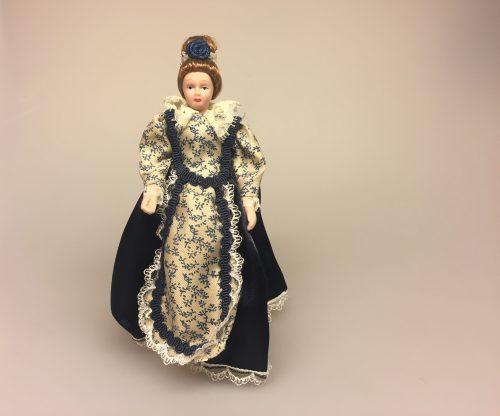 Dukke Frue i blå kjole, frue, bedstemor, tante, ældre, dame, Dukke Fin Dame i kjole, fin, dame, herskabelig, borgerskab, elegant, flot, frue, , adelig, herskabelig stil, dukkehusdukker, dukkehusting, ting til dukkehus, biti, ribe, samlere, et dukkehjem,