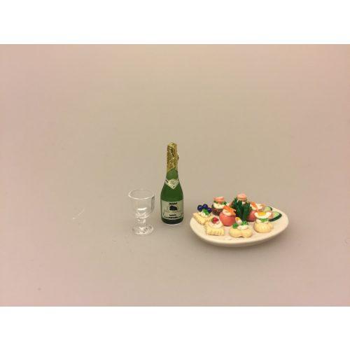 Miniature Champagne i glasflaske, bobler, flaske bobler, boblevand, prosecco, spumante, frizzante, hvidvin, dukkehus, til dukkehuset, vinfestival, gavekort, vinbar, lækker, miniature, mini, 1:12, sættekasse, sangskjuler, nisseting, nisser, kigkasse, små ting, biti, ribe,